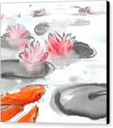 Sumie No.11 Koi Fish And Lotus Flowers Canvas Print by Sumiyo Toribe