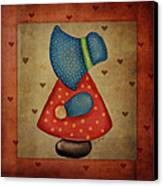 Sunbonnet Sue In Red And Blue Canvas Print by Brenda Bryant