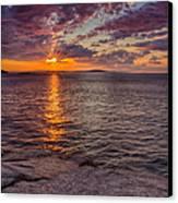 Sunrise Drama Acadia National Park Canvas Print by Jeff Sinon