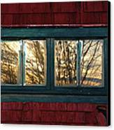 Sunrise In Old Barn Window Canvas Print by Susan Capuano