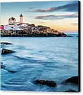 Sunset At Nubble Light-cape Neddick Maine Canvas Print by Thomas Schoeller
