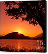 Sunset At The Lake Canvas Print by Beverly Claire Kaiya