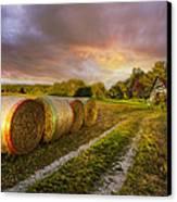 Sunset Farm Canvas Print by Debra and Dave Vanderlaan
