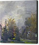 Sunset In A Foggy Fall Day Canvas Print by Ylli Haruni