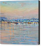 Sunset In Piermont Harbor Ny Canvas Print by Ylli Haruni