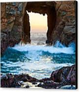 Sunset On Arch Rock In Pfeiffer Beach Big Sur. Canvas Print by Jamie Pham
