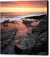 Sunset Over Rocky Coastline Canvas Print by Johan Swanepoel