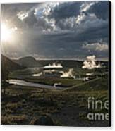 Sunset Over The Firehole River - Yellowstone Canvas Print by Sandra Bronstein