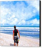 Surfer Hunting For Waves At Playa Del Carmen Canvas Print by Mark E Tisdale