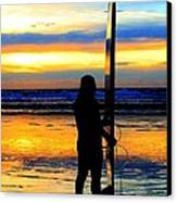 Surfer Sunset Canvas Print by Douglas J Fisher