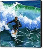 Surfin' Huntington Beach Pier Canvas Print by Alice Leggett