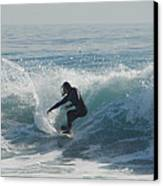 Surfing In The Sun Canvas Print by Donna Blackhall