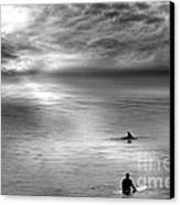Surfing With The Dolphin Canvas Print by Artist and Photographer Laura Wrede