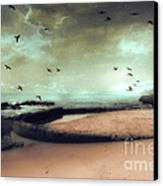 Surreal Dreamy Ocean Beach Birds Sky Nature Canvas Print by Kathy Fornal