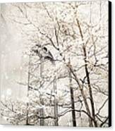 Surreal Dreamy Winter White Church Trees Canvas Print by Kathy Fornal