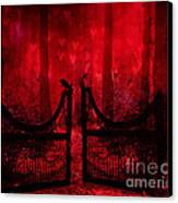 Surreal Fantasy Gothic Red Forest Crow On Gate Canvas Print by Kathy Fornal