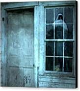 Surreal Gothic Grim Reaper In Window - Spooky Haunted House Reflection In Window Canvas Print by Kathy Fornal