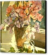 Sweetpea On The Windowsill Canvas Print by Julia Rowntree