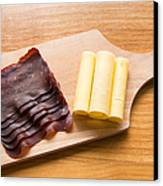 Swiss Food - Dried Meat And Cheese Canvas Print by Matthias Hauser