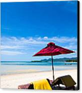 Tanning Beds On A Tropical Beach Koh Samui Thailand Canvas Print by Fototrav Print