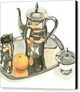 Tea Service With Orange Dramatic Canvas Print by Kip DeVore