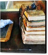 Teacher - Old School Books And Slate Canvas Print by Susan Savad
