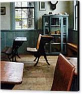 Teacher - One Room Schoolhouse With Clock Canvas Print by Susan Savad