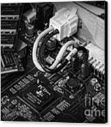 Technology - Motherboard In Black And White Canvas Print by Paul Ward
