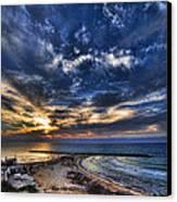 Tel Aviv Sunset At Hilton Beach Canvas Print by Ron Shoshani