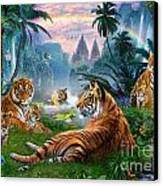 Temple Lake Tigers Canvas Print by Jan Patrik Krasny