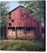 Tennessee Barn With Hay Bales Canvas Print by Janet King