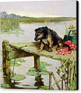 Terrier - Fishing Canvas Print by Philip Eustace Stretton