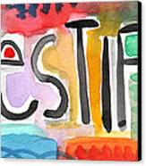 Testify- Colorful Pop Art Painting Canvas Print by Linda Woods