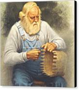 The Basketmaker In Pastel Canvas Print by Paul Krapf
