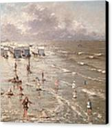 The Beach At Ostend Canvas Print by Adolphe Jacobs