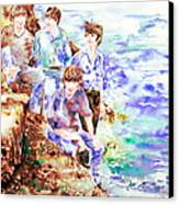 The Beatles At The Sea Watercolor Portrait Canvas Print by Fabrizio Cassetta