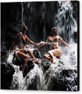 The Birth Of The Double Star. Anna At Eureka Waterfalls. Mauritius. Tnm Canvas Print by Jenny Rainbow