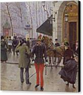 The Boulevard Des Capucines And The Vaudeville Theatre Canvas Print by Jean Beraud