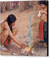 The Campfire Canvas Print by EI Couse