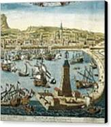The City And Port Of Barcelona 18th C Canvas Print by Everett