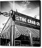 The Crab Cooker Newport Beach Black And White Photo Canvas Print by Paul Velgos