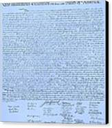 The Declaration Of Independence In Cyan Canvas Print by Rob Hans