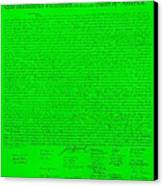 The Declaration Of Independence In Green Canvas Print by Rob Hans