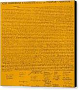 The Declaration Of Independence In Orange Canvas Print by Rob Hans