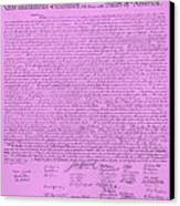 The Declaration Of Independence In Pink Canvas Print by Rob Hans
