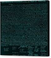 The Declaration Of Independence In Turquoise Canvas Print by Rob Hans