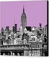 The Empire State Building Pantone African Violet Light Canvas Print by John Farnan