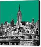 The Empire State Building Pantone Emerald Canvas Print by John Farnan