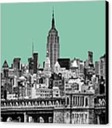 The Empire State Building Pantone Jade Canvas Print by John Farnan