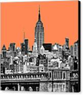 The Empire State Building Pantone Nectarine Canvas Print by John Farnan
